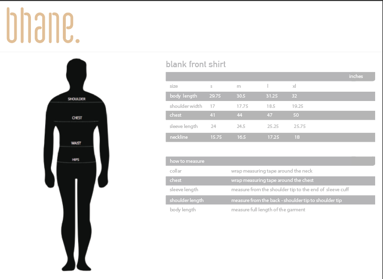 blank front shirt's Size Chart