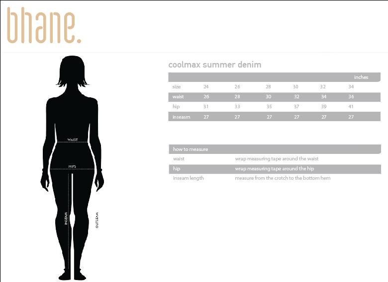 coolmax summer denim's Size Chart