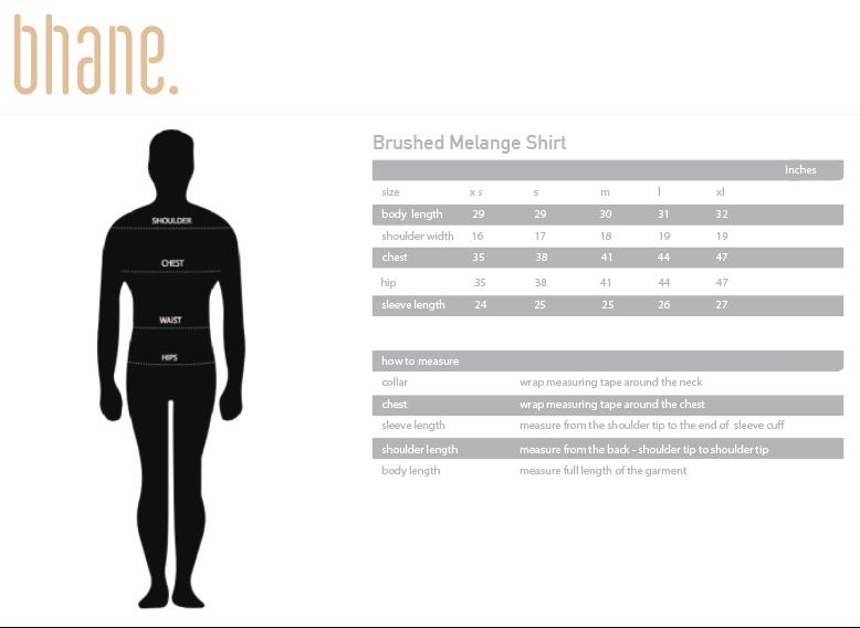 brushed melange shirt's Size Chart