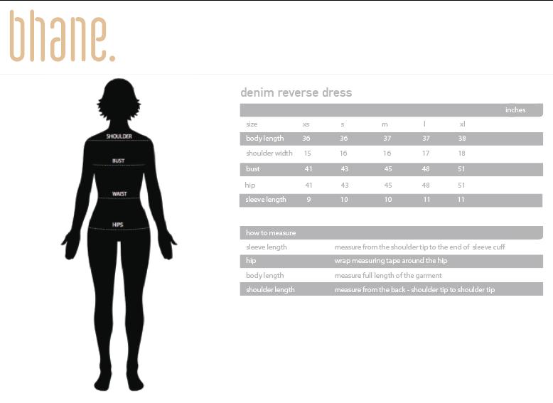 denim reverse dress's Size Chart
