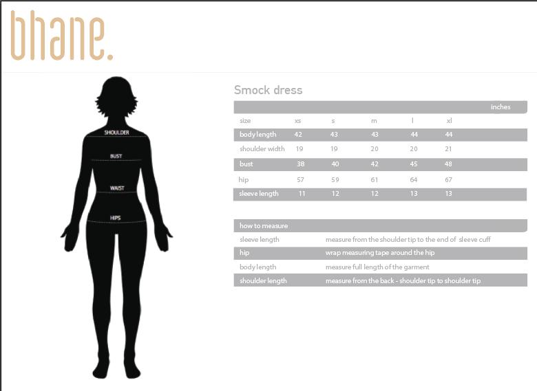 smock dress's Size Chart