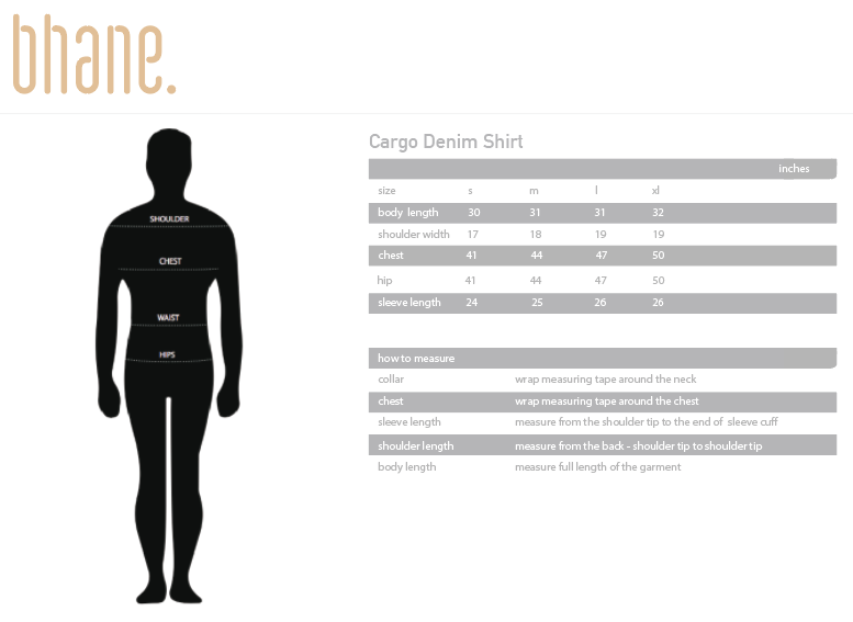 cargo denim shirt's Size Chart