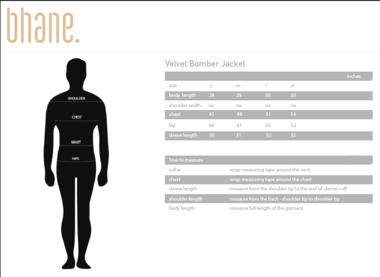 velvet bomber jacket's Size Chart