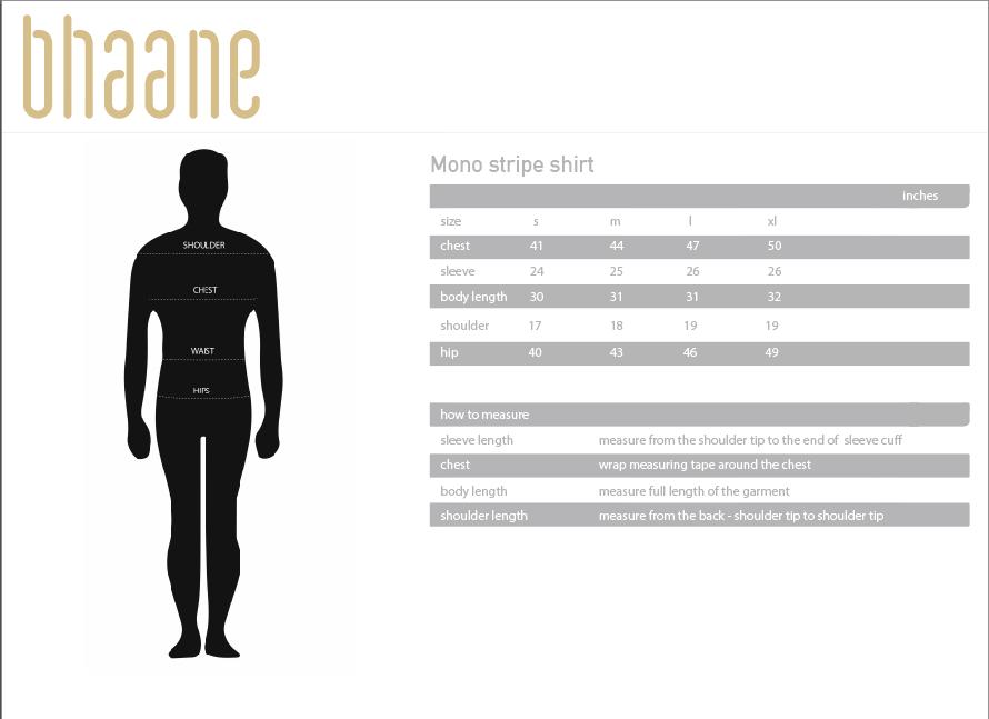 mono stripe shirt's Size Chart