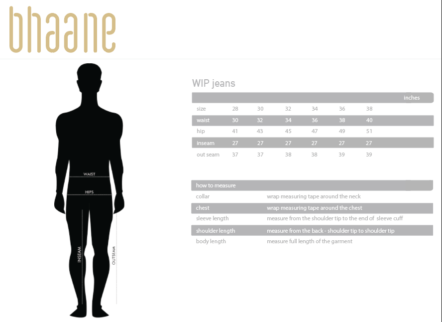 wip jeans's Size Chart