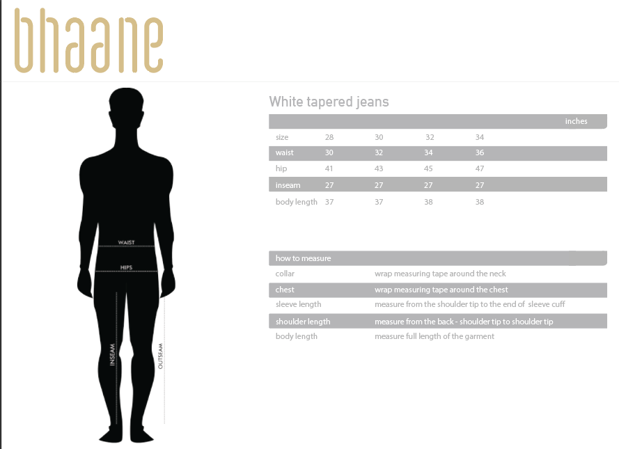 white tapered jeans's Size Chart