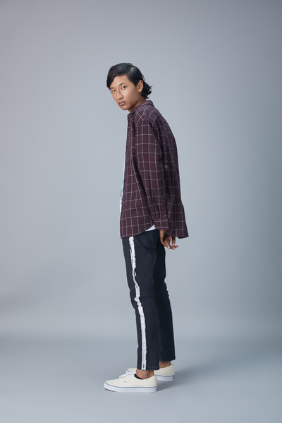 slim jeans with foil stripe