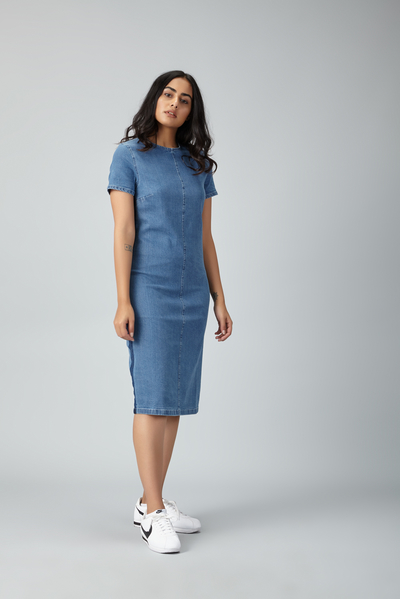 racing denim dress