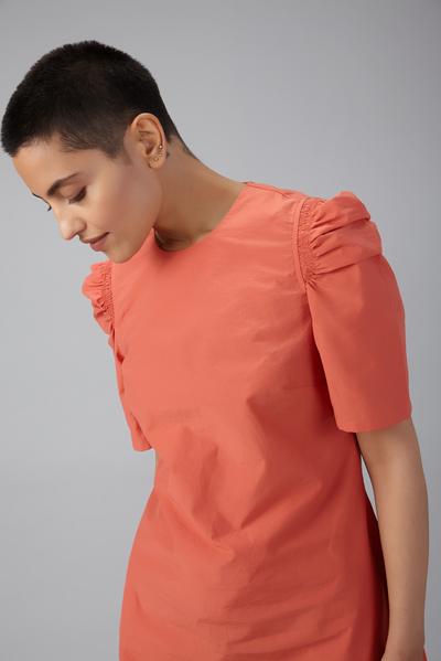 gathered sleeve shift dress